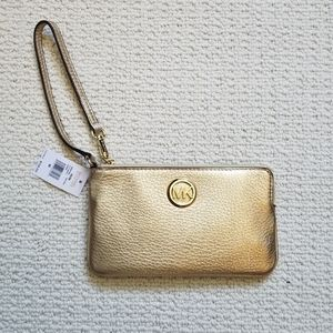 Michael Kors Fulton gold leather wristlet NWT